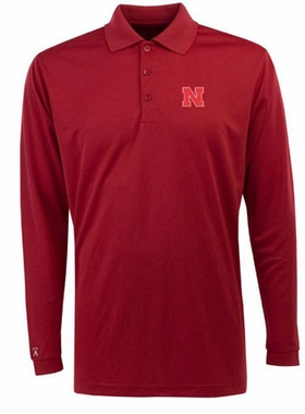 Nebraska Mens Long Sleeve Polo Shirt (Color: Red)