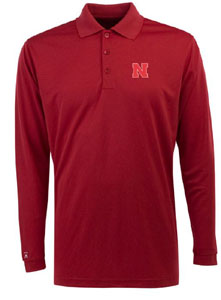 Nebraska Mens Long Sleeve Polo Shirt (Color: Red) - Small