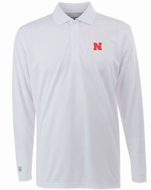 Nebraska Mens Long Sleeve Polo Shirt (Color: White)