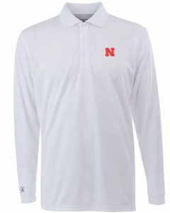 Nebraska Mens Long Sleeve Polo Shirt (Color: White) - Small