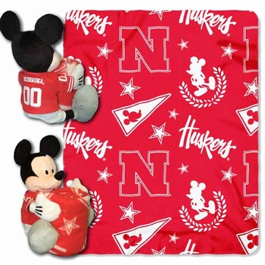Nebraska Mickey Mouse Pillow / Throw Combo