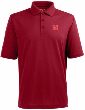 Nebraska Mens Pique Xtra Lite Polo Shirt (Team Color: Red)