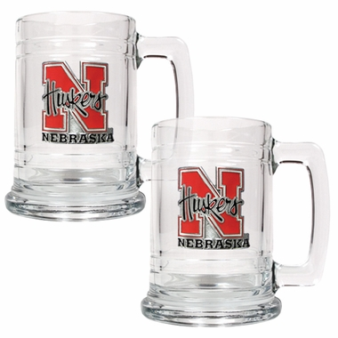 Nebraska Set of 2 15 oz. Tankards