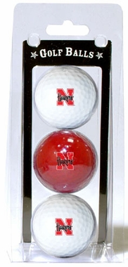 Nebraska Set of 3 Multicolor Golf Balls
