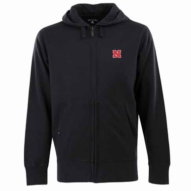 Nebraska Mens Signature Full Zip Hooded Sweatshirt (Alternate Color: Black)
