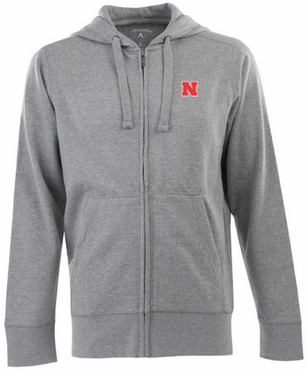 Nebraska Mens Signature Full Zip Hooded Sweatshirt (Color: Gray)