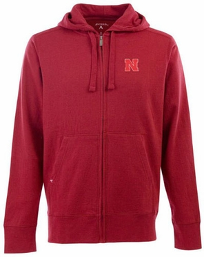 Nebraska Mens Signature Full Zip Hooded Sweatshirt (Team Color: Red)