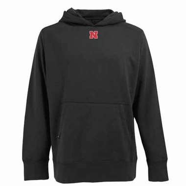 Nebraska Mens Signature Hooded Sweatshirt (Color: Black)