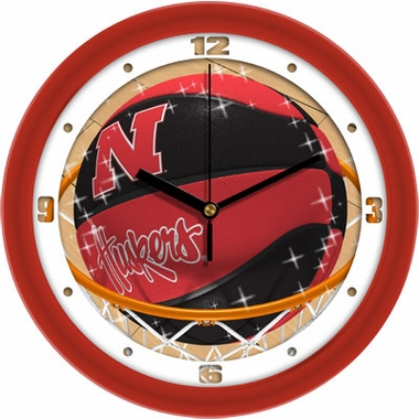 Nebraska Slam Dunk Wall Clock