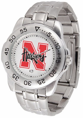 Nebraska Sport Men's Steel Band Watch