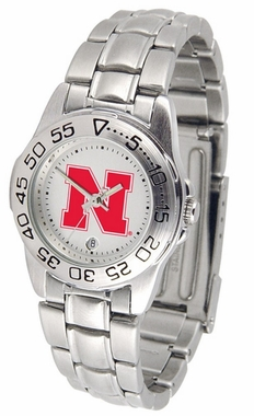 Nebraska Sport Women's Steel Band Watch