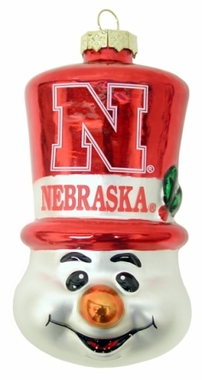 Nebraska Tophat Snowman Glass Ornament