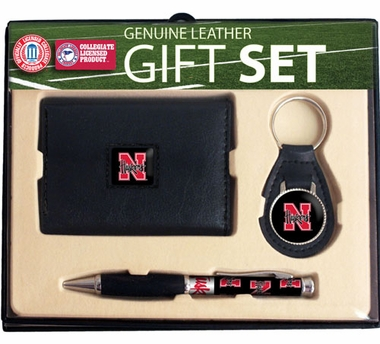 Nebraska Trifold Wallet Key Fob and Pen Gift Set