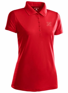 Nebraska Womens Pique Xtra Lite Polo Shirt (Color: Red)