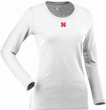 Nebraska Womens Relax Long Sleeve Tee (Color: White)