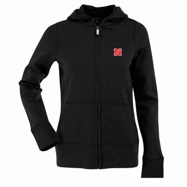 Nebraska Womens Zip Front Hoody Sweatshirt (Color: Black)
