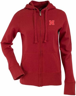 Nebraska Womens Zip Front Hoody Sweatshirt (Color: Red)