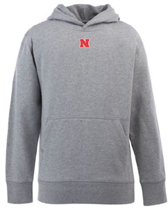 Nebraska YOUTH Boys Signature Hooded Sweatshirt (Color: Gray) - Medium