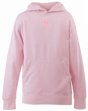 Nebraska YOUTH Girls Signature Hooded Sweatshirt (Color: Pink)