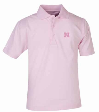 Nebraska YOUTH Unisex Pique Polo Shirt (Color: Pink)