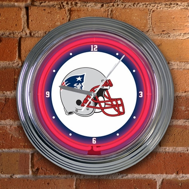 New England Patriots 15 Inch Neon Clock