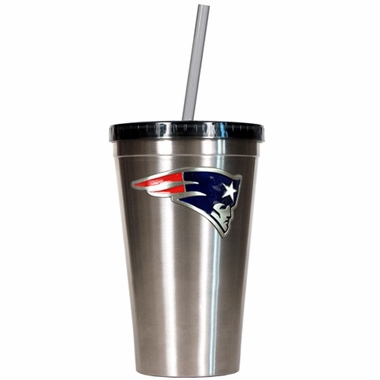New England Patriots 16oz Stainless Steel Insulated Tumbler with Straw