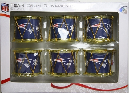 New England Patriots 2012 Plastic Drum 6 Pack Ornament Set
