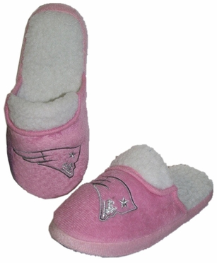 New England Patriots 2012 Womens Pink Sherpa Glitter Slippers