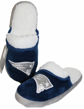 New England Patriots 2012 Womens Team Color Sherpa Glitter Slippers