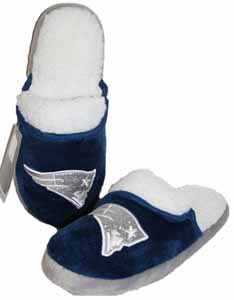 New England Patriots 2012 Womens Team Color Sherpa Glitter Slippers - X-Small
