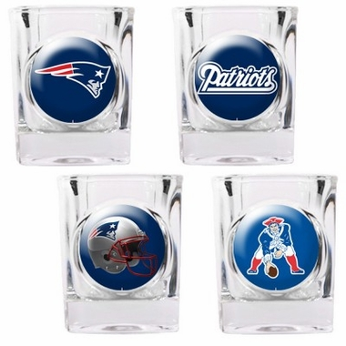 New England Patriots 4 Piece Assorted Shot Glass Set