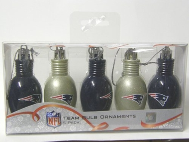 New England Patriots 5 Pack Bulb Ornaments