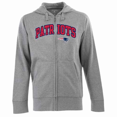 New England Patriots Mens Applique Full Zip Hooded Sweatshirt (Color: Gray)