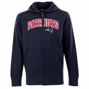 New England Patriots Mens Applique Full Zip Hooded Sweatshirt (Team Color: Navy) - XX-Large