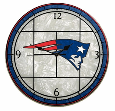 New England Patriots Art Glass Clock