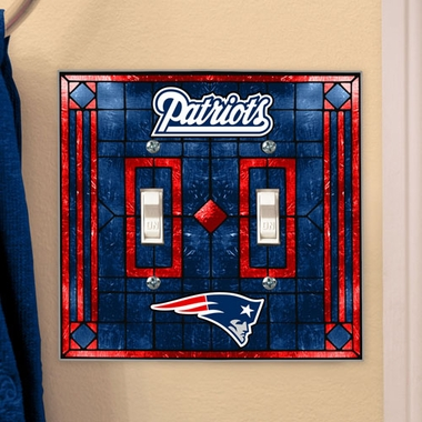 New England Patriots Art Glass Lightswitch Cover (Double)