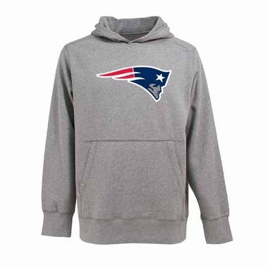 New England Patriots Big Logo Mens Signature Hooded Sweatshirt (Color: Gray)