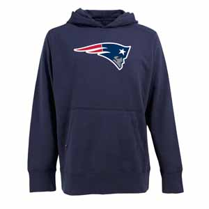 New England Patriots Big Logo Mens Signature Hooded Sweatshirt (Team Color: Navy) - Large