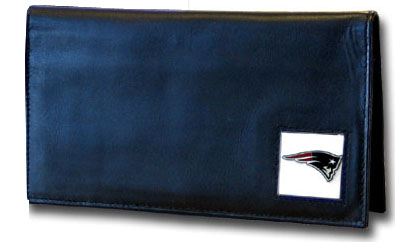 New England Patriots Black Leather Checkbook Cover (F)