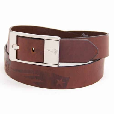 New England Patriots Brown Leather Brandished Belt