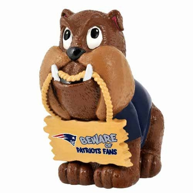 New England Patriots Bulldog Holding Sign Figurine