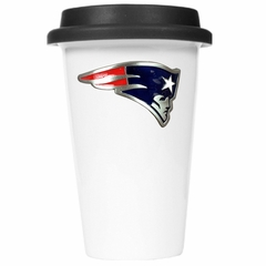 New England Patriots Ceramic Travel Cup (Black Lid)