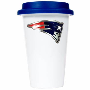 New England Patriots Ceramic Travel Cup (Team Color Lid)