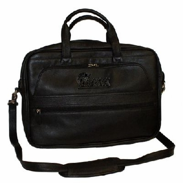 New England Patriots Debossed Black Leather Laptop Bag