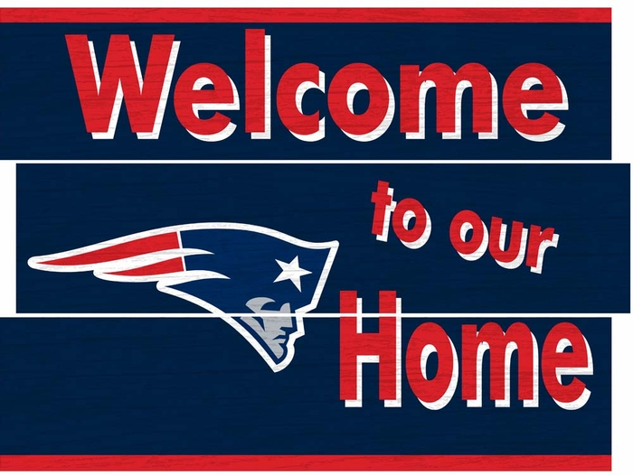 New England Patriots Distressed Welcome To Our Home Plank Sign