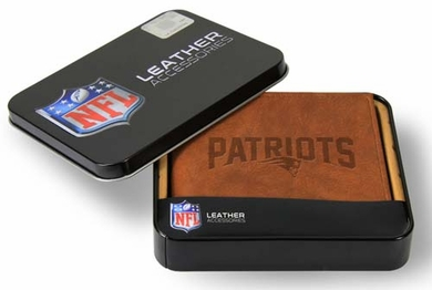New England Patriots Embossed Leather Bifold Wallet