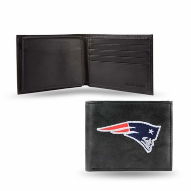 New England Patriots Embroidered Leather Bi-Fold Wallet