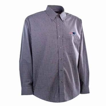 New England Patriots Mens Esteem Check Pattern Button Down Dress Shirt (Team Color: Navy)