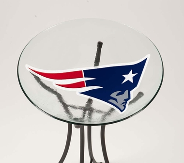 New England Patriots Glass Bird Bath