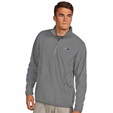 New England Patriots Mens Ice Polar Fleece Pullover (Color: Gray)